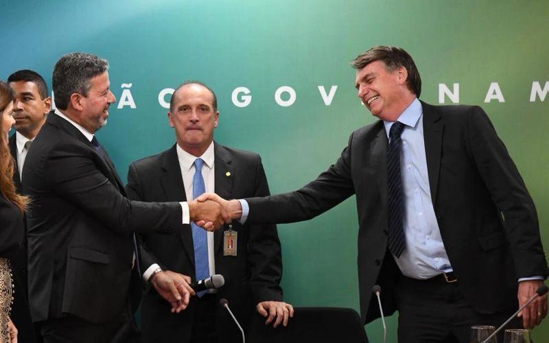Arthur Lira, Onyx e Bolsonaro em encontro da bancada do PP