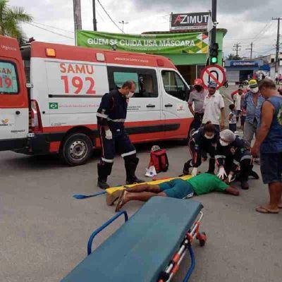 Vítima foi socorrida pelo Samu e levada ao hospital