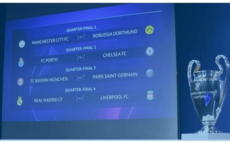 O sorteio definiu os confrontos das quartas de final da Liga dos Campeões.