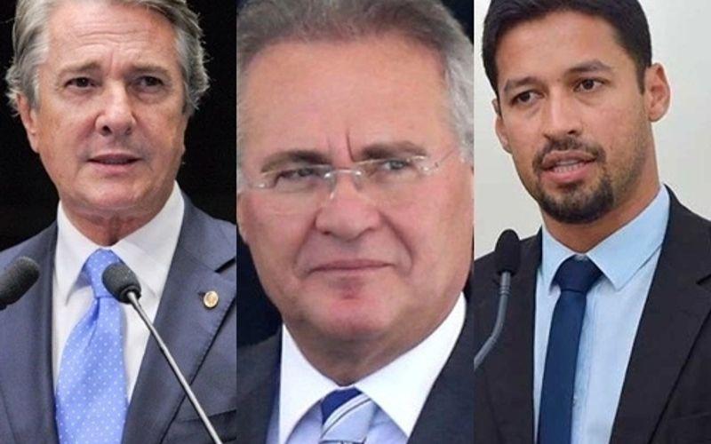 Fernando Collor, Renan Calheiros e Rodrigo Cunha, senadores por Alagoas.