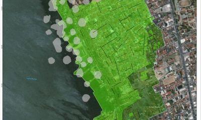 Mapa elaborado pela Defesa Civil de Maceió aponta áreas afetadas pelo afundamento do solo e áreas para monitoramento.