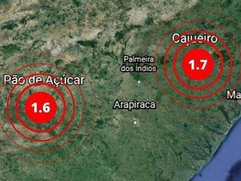 Tremores de terra foram registrados em Cajueiro e Pão de Açúcar, no interior de Alagoas.